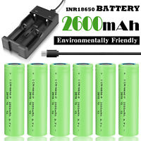 2600mAh 3.7V INR18650 Battery Rechargeable Li-ion Flat Top High Drain w/ Charger