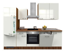 Küchenzeile mit Elektrogeräten Einbauküche Geschirrspüler E-Geräte 280cm weiss