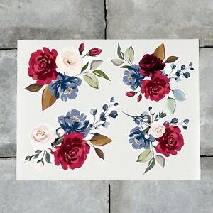 4 x Rose Flower Vinyl Stickers Decals Wall MacBook Laptop iPad - SKU6765