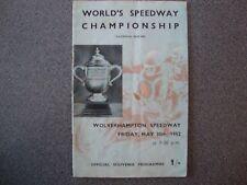 SPEEDWAY PROGRAMME WOLVERHAMPTON. WORLD CHAMPIONSHIP Q/R 30/5/1952.