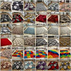 NOBLE HOUSE GEOMETRIC 3D TEXTURED PILE PEBBLE DIAMONDS SOFT THICK SHAGGY RUGS