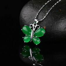 Fashion Natural Green Jade Butterfly Necklace Pendant Delicate Lucky Amulet Hot