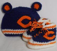 Custom Handmade Crochet Chicago Bears Football High Top Booties & Baby Hat