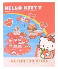 Hello Kitty Muffin Geburtstagsset 3 Stock Etagere 61 teilig - Neu & OVP