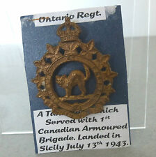 WW2 Ontario Regiment cap badge (Canadian Tank regiment Sicily and Italy)