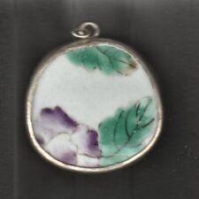 Vintage Chinese Porcelain Shard Pendant - Purple Flowers
