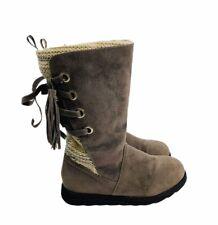 Mukluks Women's Sz 7 Brown Vegan Suede Flannel Lined Boots