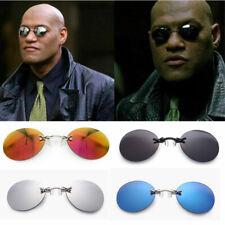 Men Retro Matrix Morpheus Style Sunglasses Vintage Round Rimless Design UV400 UK