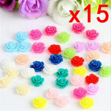 15pcs Colorful Resin Rose Flower flatback Appliques For DIY phone/craft ☆