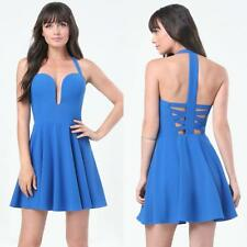 BEBE BLUE HALTER BACK CRISSCROSS DRESS NWT NEW $129 MEDIUM M 8