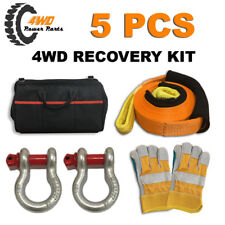 4WD Winch Recovery Kit Straps Nylon Snatch Strap Bow Shackles Glove Bag 5 PCS