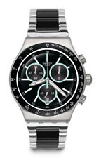 Swatch ironfresh Watch yvs434g Analogue Chronograph Stainless Steel Black,Silver