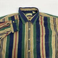 Vintage L.L. Bean Button Up Shirt Men's Large Long Sleeve Multi-Striped Cotton