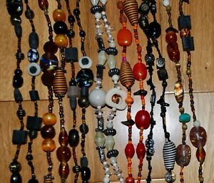 Beads Chunky costume jewellery necklace bundle 9 Very long strings 56 to 64 inch