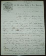 RARE, 1879, MANUSCRIPT LETTER SIGNED, GRAND SECRETARY, NH, ODD FELLOWS, IOOF