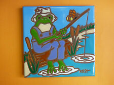 "Ceramic Art Tile 6""x6"" Cute Papa Frog Fisherman Pond Unique Trivet Wall NEW M33"