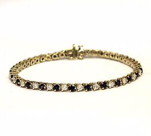 14k yellow gold 2ct VS2-SI1 H sapphire diamond tennis bracelet 13.6g estate rare