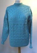 """VINTAGE HAND KNIT TURQUOISE WOOL ( BLEND?) JUMPER LACE WORK - 40"""" B"""