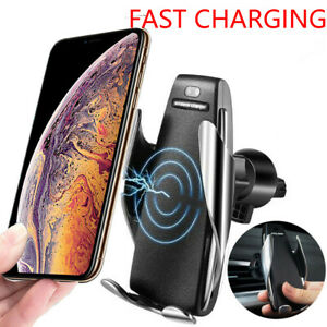 Car Mount Holder Air Vent Automatic Clamping Mobile Phone Charger For iPhone