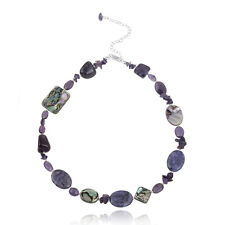 925 Silver Abalone, Amethyst Chips & Nuggets Fashion Necklace