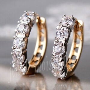 Solid 14k Yellow Gold Hoop Earring 2.50 mm White Brilliant Round Moissanite