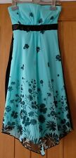 Women's Jane Norman Strapless Turquoise and Black Floral Print Dress Size 6