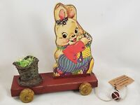 Retro Easter Bunny Cart  distressed appearance made of wood and metal