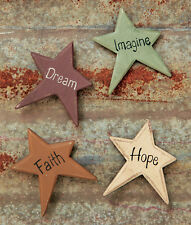 Set of 4 Primitive Star Magnets, Imagine, Hope, Faith, Dream, New, Distressed