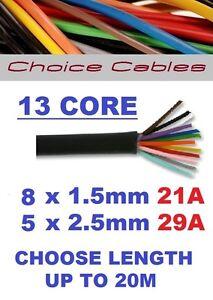 13 CORE CARAVAN CABLE, 12V/24V MULTICORE AUTO CABLE, HIGH CURRENT, 8X1.5+ 5X2.5