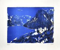 Benninghoff: Berglandschaft in Blau. [19]76. Signierte Original-Farblithografie.