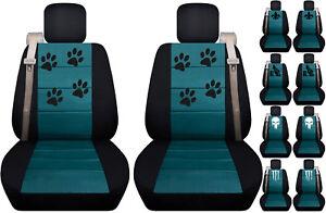 Fits Chevy trailblazer /GMC envoy front car seat cover black-teal w/fleur...