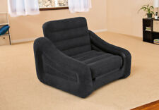 Intex Inflatable Air Chair With Pull Out Twin Bed Mattress Sleeper 68565E Black