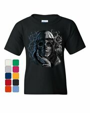 Dead Girl with Roses Youth T-Shirt Sugar Skull Face Day of the Dead Kids Tee