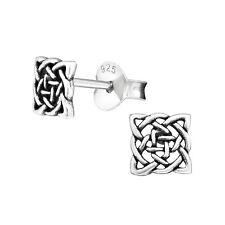 925 Sterling Silver Celtic Oxidised Twist Square Knots Swirl Stud Earrings