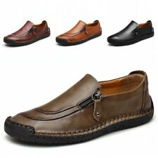 Men's Leather Casual Zipper Shoes Breathable Antiskid Slip on Loafers Moccasins