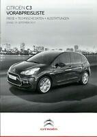 Citroen C3 Preisliste 2011 13.9.11 Preise Ausstattungen Technische Daten prices