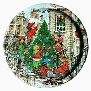 Vintage 80s Christmas Cookie Tray Platter 13.5 Inch Potpourri Press Wim Schimmer