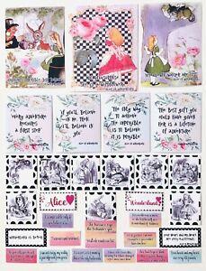 Alice In Wonderland Junk Journal Kit, Scrapbook Pictures & quotes, 30 Stickers