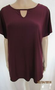 NEW PURPLE CUT OUT DETAIL TUNIC STYLE TOP SIZE LARGE 16/18 IDEAL WORLD