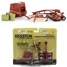 1:64 Hesston Haying Set w/ Hay Rake, Discbine, Round Baler. ERTL 16264 NIB