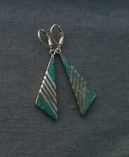 STERLING SILVER SMART TURQUOISE LEVERBACK EARRINGS 925 SOLID