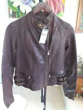 Ralph Lauren Woman's Leather Coat New Red brown delicious Leather  size  XS