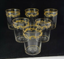 Set Of 6 Antique Crystal Gold Encrusted Glass Tumblers