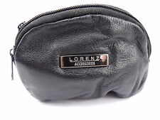 Mens Ladies Super Soft Black Real Leather Small Coin Change Pouch Purse Wallet