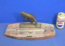 Vtg Antique Bronze Fish Marble Base Desk Pen Tray ca 1900-1910 Trout Austrian?
