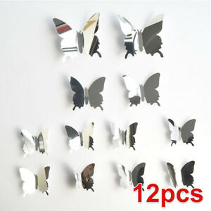 Decor Self Adhesive Mirror Butterfly Home Decal Bedroom Art Wall Sticker
