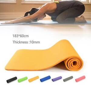 60x 183cm Yoga Mat 10mm Thick Gym Exercise Fitness Pilates Workout Mat Non Slip