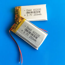 2 pcs 3.7V 250mAh Lipo Polymer Battery for MP3 GPS PSP Headset Bluetooth 402035