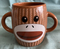 NICE EUC Sock Monkey Coffee Cup Mug Brown White Double Handle Galerie Ceramic