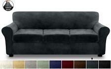 FINERFIBER Velvet High Stretch 4 Piece Sofa SlipCover, Furniture Protector,